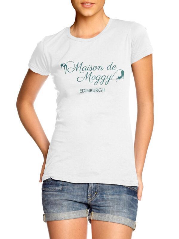 Maison de Moggy Edinburgh Ladies T Shirt, White