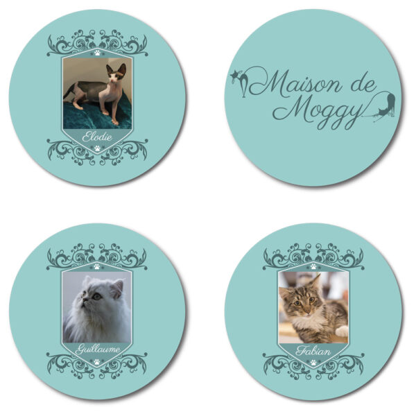 Set of 4 Coasters featuring Maison de Moggy Logo, Elodie, Fabian and Guillaume