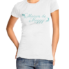 Ladies white fitted t shirt, featuring the Maison de Moggy Logo